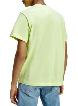 T-Shirt Tommy Jeans Corp Logo Verde per Uomo