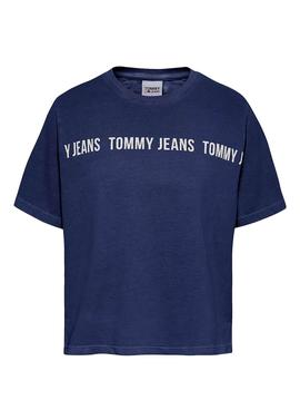 T-Shirt Tommy Jeans Cropped Blu Navy per Donna