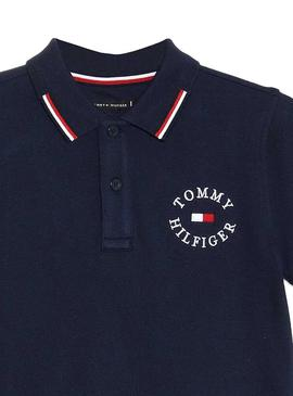 Polo Tommy Hilfiger Badge Blu Navy Per Bambino