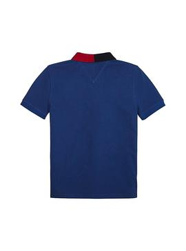 Polo Tommy Hilfiger Colorblock Blu Navy Bambino