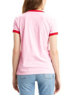T-Shirt Levis Perfect Ringer Pink Donna
