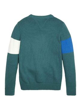 Maglia Tommy Hilfiger H Verde Per Bambinos