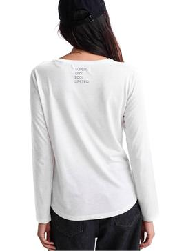 Top Superdry Graphic Bianco Donna