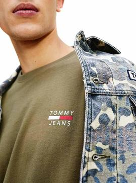 T-Shirt Tommy Jeans Logo Verde Uomo