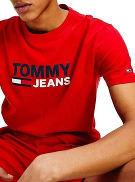 T-Shirt Tommy Jeans Corp Rosso Uomo