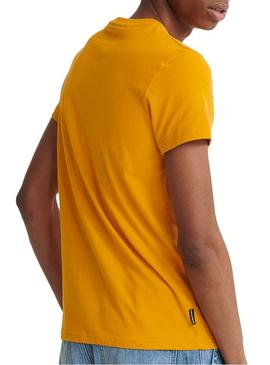 T-Shirt Superdry Core Faux Suede Giallo Uomo