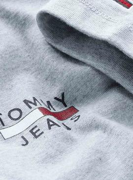 T-Shirt Tommy Jeans Chest Logo Gris per Uomo