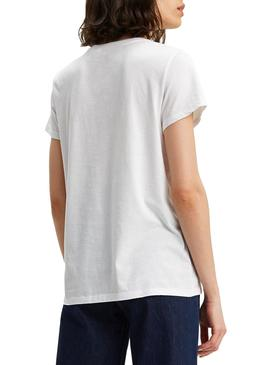 T-Shirt Levis Perfect Tee Large Bianco per Donna