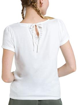 T-Shirt Naf Naf Flower Bianco per Donna