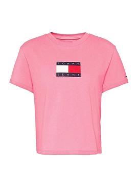 T-Shirt Tommy Jeans Flag Rosa per Donna