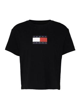 T-Shirt Tommy Jeans Flag Nero per Donna