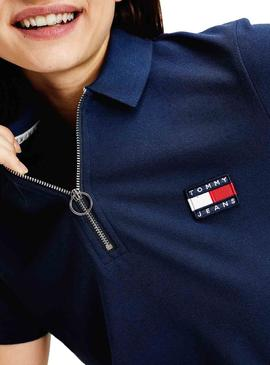 Polo Tommy Jeans Badge Blu per Donna