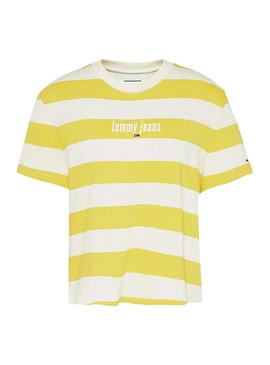 T-Shirt Tommy Jeans Stripe Giallo per Donna