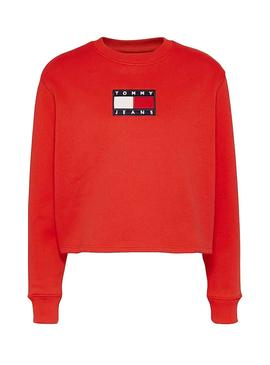 Felpe Tommy Jeans Crew Rosso per Donna