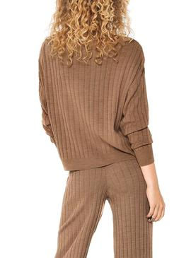 Pullover Only Tessa Textured Marrone per Donna