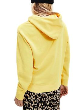 Felpa Tommy Jeans Linear Giallo per Donna