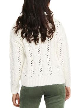 Pullover Only Chanet Bianco per Donna