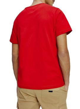 T-Shirt Logo Tommy Jeans Corp Rosso per Uomo