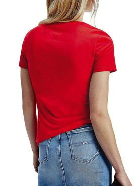 T-Shirt Tommy Jeans Essential Logo Rosso Donna