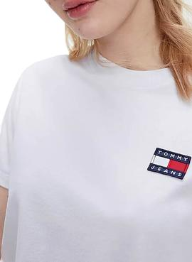 T-Shirt Tommy Jeans Badge Tee Bianco per Donna