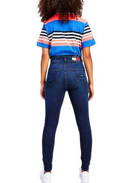 T-Shirt Tommy Jeans Boxy Crop Blu per Donna