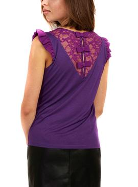 T-Shirt Naf Naf Lace Purple per Donna