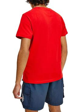 T-Shirt Tommy Jeans Center Chest Rosso per Uomo