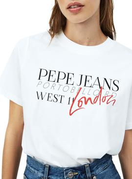 T-Shirt Pepe Jeans Anette Bianco per Donna