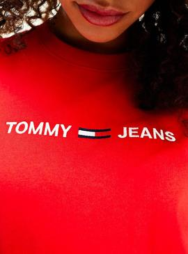 T-Shirt Tommy Jeans Logo Rosso per Donna