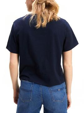 T-Shirt Logo Tommy Jeans Signature Blu Donna