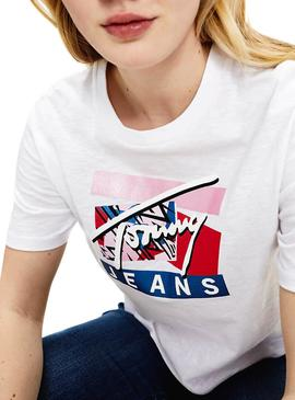 T-Shirt Tommy Jeans Signature Logo Bianco Donna