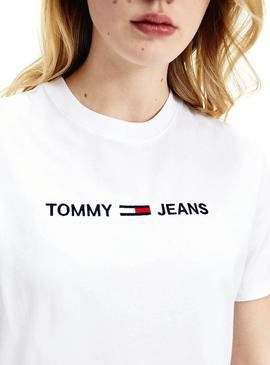 T-Shirt Tommy Jeans Modern Logo Bianco per Donna