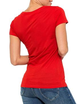 T-Shirt Tommy Jeans Essential Slim Rosso Donna