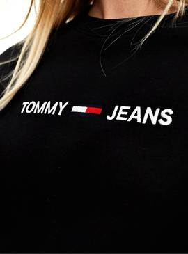 T-Shirt Tommy Jeans Logo lineare Nero per Donna