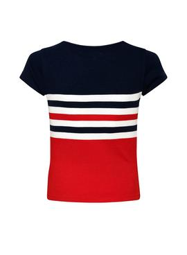 T-Shirt Pepe Jeans Sonyta Rosso per Bambina