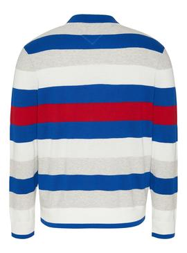 Pullover Tommy JeansSmall Text Stripe Blu Uomo